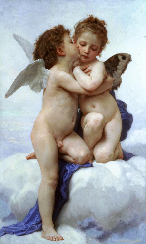 Картина Адольф-Вильяма Бугро «Первый поцелуй»