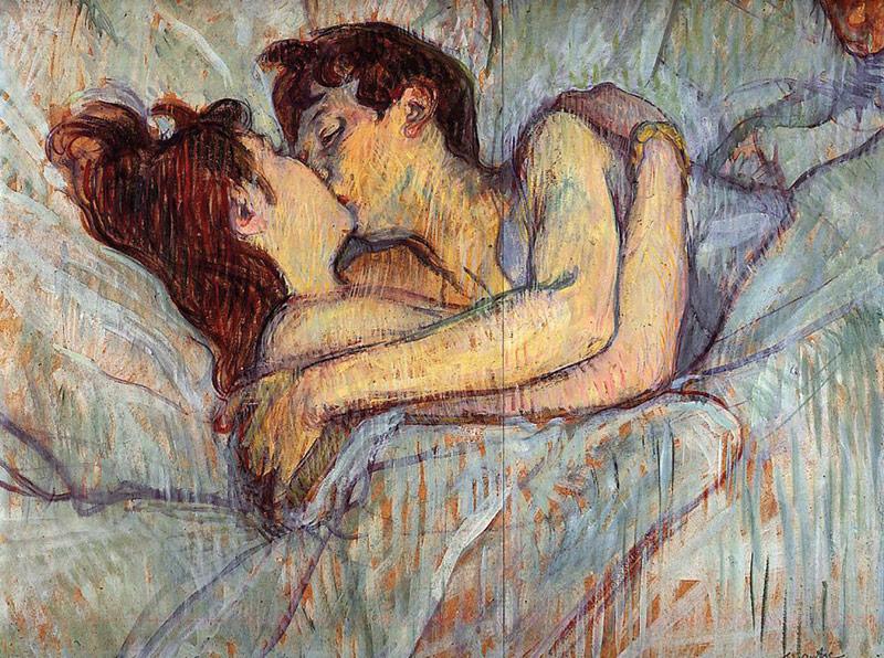 Картины «В постели: поцелуй», «Поцелуй в постели»